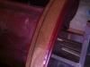 Nieuw hout voor de deurinstap links en rechts achter, bij de wielkuipen